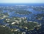 空から見たあご湾の風景